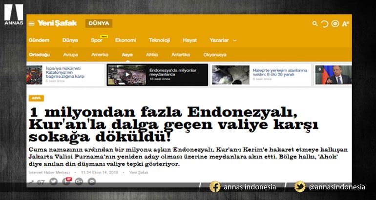 MEDIA TURKI CATAT ADA SEJUTA LEBIH PESERTA AKSI DEMO TANGKAP AHOK